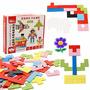 Caja De Bloques De Colores Madera Tetris 114 Piezas