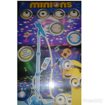 Microfono De Pie Minions C/adaptador Celu Luces Y Melodia