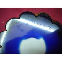 Excelente Jarron Cristal Azul Europeo Firmado (591)