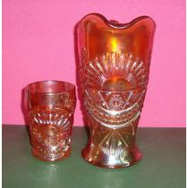 Carnival Glass - Jarra Para Agua Y Su Vaso - Rising Sun -