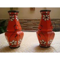 Pareja De Jarrones Antiguos De Porcelana