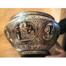 Jarrón Macetero Egipto Cincelado En Cobre Estaño Bronce