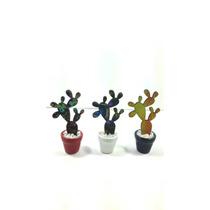 Cactus Mediano Madera Cerámica Decoración Decoviral