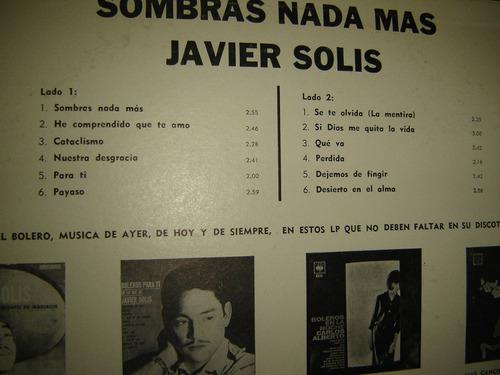 Javier Solis Sombras Nada Mas Lp Vinilo