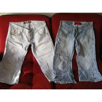 Lote:2 Pantalones Capri,jeans Talle 34 Y 36,
