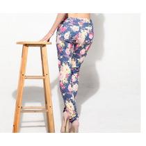 Pantalon Mujer Flores Importado Elastizado Ultimo Tiro Bajo