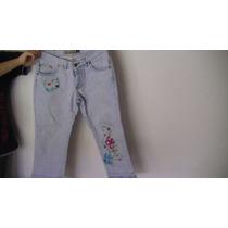 Pantalon Jean Bordado Flores