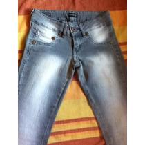 Pantalón De Jean Hk Husky Mujer Talle 36 Gris Elastizado