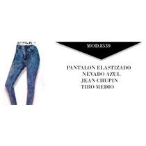 Jean Nevado Azul Batik Tiro Medio Elastizado 36-44 - Envio