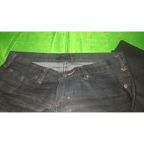 Jean Scombro Negro Ribete Rojo 25 Spandex Elastizado