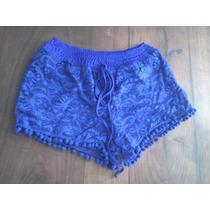 Phenomena Moda Short De Encaje Azul Verano