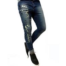 Jeans De Hombre Super Canchero Con Pintura Saltada Toca