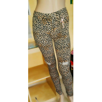 Pantalón Jean Mujer Animal Print Leopardo Tiro Alto Roto