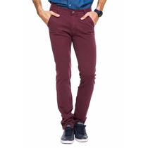 Pantalones Bordó Slim Cara Cruz Premium