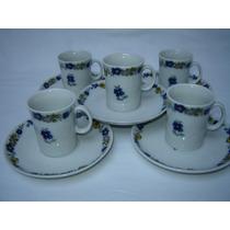 Juego De 5 Tazas De Cafe Porcelana Marly Con Flores Azules