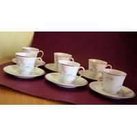 Antiguo Juego De Tazas De Café Para 6 -porcelana Limoges -