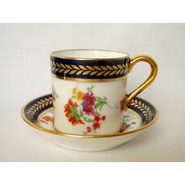 Taza Cafe Porcelana Inglesa Paragon Flores Azul Cobalto Oro