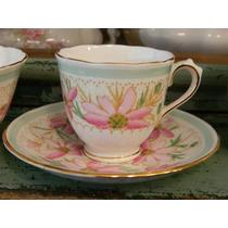 Taza De Café De Porcelana Inglesa Tuscan Flores Pastel