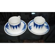 Platos Pocillos Cafe Tu Y Yo Frances Sarreguemines Azul Blan