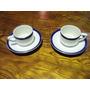 Remate Juego De 2 Platos Y 2 Tazas Cafe Con Leche Borde Azul