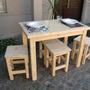 Mesa 60x100 + 4 Bancos (altura=silla) Reforzado + Regalo