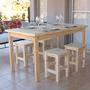 Mesa 80x135 + 4 Bancos (altura=silla) Reforzados + Regalo