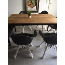 Mesa Comedor Hierro/madera + 4 Sillónsillon Eames Patas De M