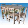 Mesa De Pino 140 X 80 + 6 Sillas Reforzadas Y Atornilladas