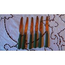 Antiguo Juego De Cuchillos Francia Bronce Mango Verde