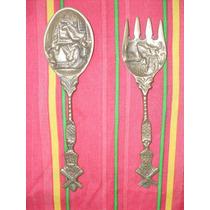 Cubiertos Antiguos De Bronce Cuchara Y Tenedor