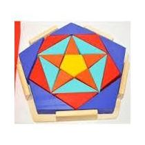 Rompecabeza Artesanal Pentagono Geometrico Madera 21 Piezas