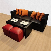 Sillon 3 Cuerpos C/asientos En Placa Soft, Todo En Ecocuero