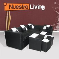 Sillón Esquinero + Mesa + 2 Puff - Genial Juego De Living