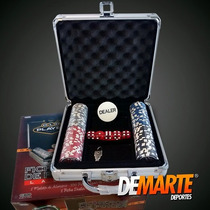 Fichero De Poker Aluminio Con 100 Fichas Laser+ Cartas+dados