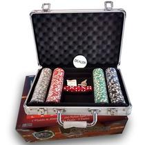 Fichero De Poker Aluminio Con 200 Fichas Laser+ Cartas+dados