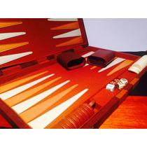 Backgammon Maletin Cuero Ecologico Juego De Mesa