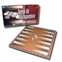 Juego De Backgammon Con Piezas De Madera Tablero 34cmx34cm