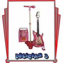 Guitarra Con Microfono Rock & Music Band Para Niños Rosa