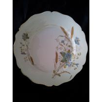 Plato Postre Porcelana Francesa Pintado A Mano Trigo Flores
