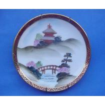 Plato Pintado A Mano De Porcelana Tsuji Con Motivo Oriental