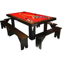 Mesa De Pool 240 Comedor Y Ping Pong + Bancos + Kit`s Oferta