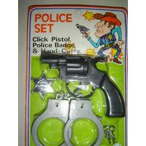 Revolver-juego Policia Con Esposas - En Blister.nuevo Retro