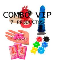Combo Sexual Vibrador Vip+consolador+anal+anillo+3 Lubri