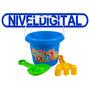 Set Playero Balde + Palita Y Rastrillo Plástico Ideal Verano