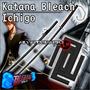 Katana Ichigo Bankai Anime Bleach Tsuba Cuadrada Hoja Negra