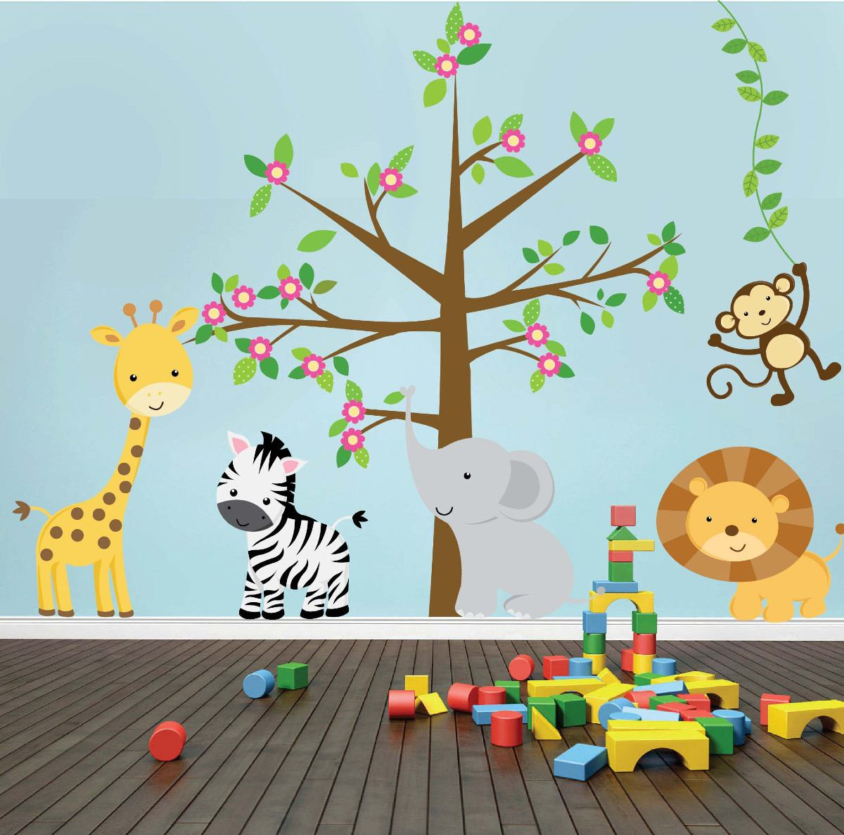 Vinilos decorativos animales infantiles imagui - Decorar pared infantil ...
