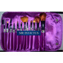 Set 12 Brochas Pinceles Con Maquillaje Rosa O Lila En Flores