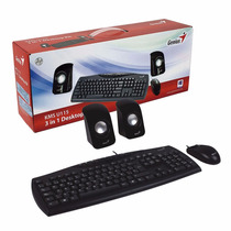 Kit Genius Teclado + Mouse + Parlantes Kms U115 3en1 Pc Usb