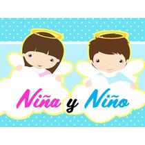 Kit Imprimible Bautismo Niño Niña Cotillon Candy Imprimible