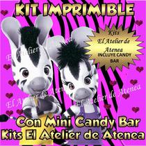 Kit Imprimible Zou La Cebra + Mini Candy Bar - Invitaciones